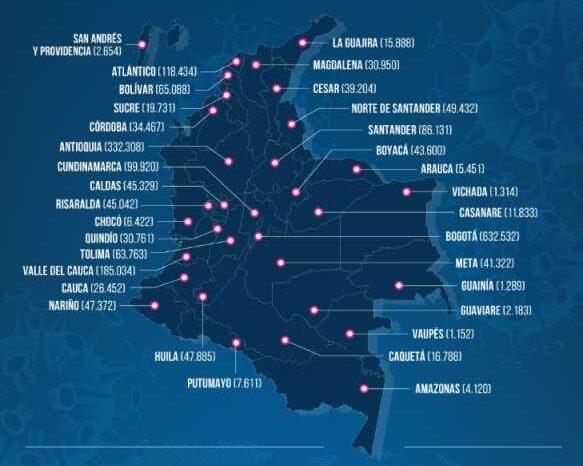 Colombia suma 4 mil 246 contagios por covid-19, la cifra más baja en casi 7 meses