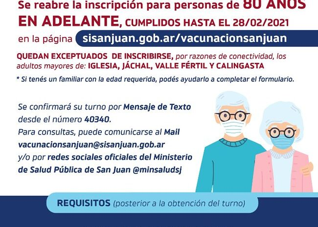Se reabre la inscripción para la vacunación de los adultos mayores de 80 años