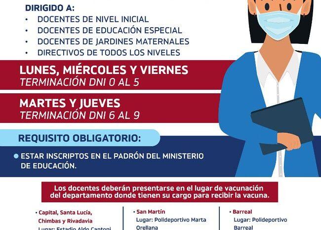 Comienza la vacunacion de docentes de Nivel Inicial, Educación Especial, jardines maternales y directivos