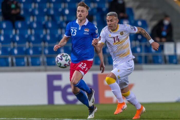 Norberto Briasco. El delantero de Huracán fue titular en la victoria de Armenia ante Liechtenstein 1-0 rumbo al Mundial