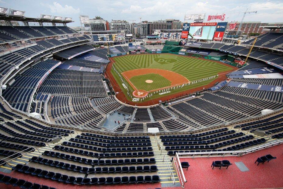 Los eventos deportivos celebrados en medio de la pandemia de coronavirus se han convertido en un espectáculo completamente diferente cuando se trata de espectadores. En la imagen el primer juego de la MLB de los Yankees de NY ante los Nacionales de Washington.